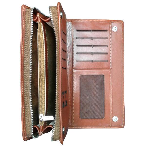 111 4 600x600 - کیف پول و جا موبایلی تمام چرم زنانه و مردانه زیپ دار با جعبه چوبی B113