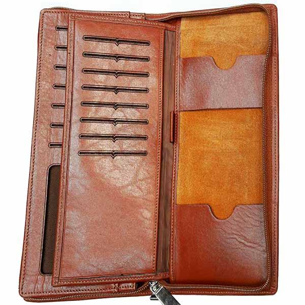 BB12 min - کیف پول و موبایل چرم مردانه و زنانه چند منظوره | کیف پول چرم با بند چرم کد B107